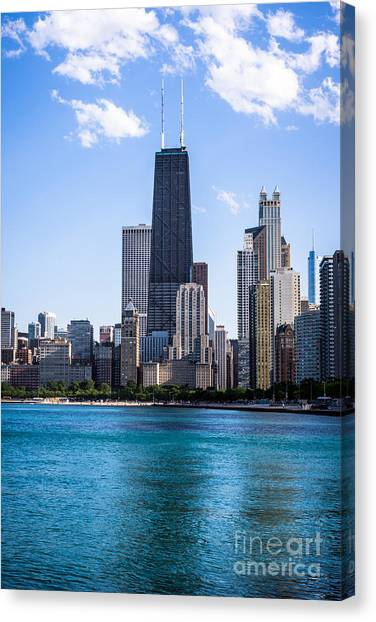 Hancock Building Canvas Print - Chicago Photo Of Skyline And Hancock Building by Paul Velgos