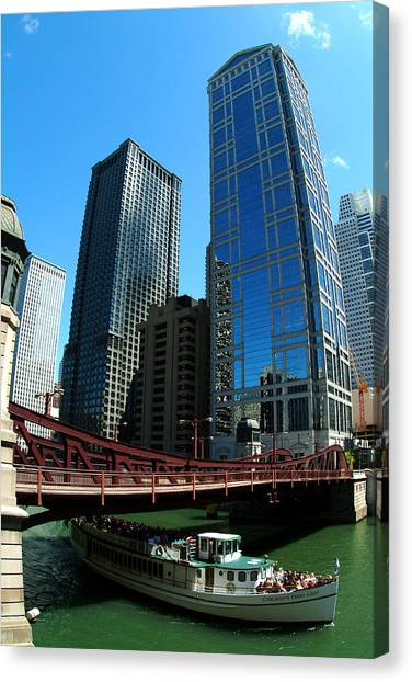 Chicago River - Chicago Boat Tour Canvas Print by Dmitriy Margolin