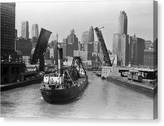 Vintage Chicago Canvas Print - Chicago River 1941 by Daniel Hagerman