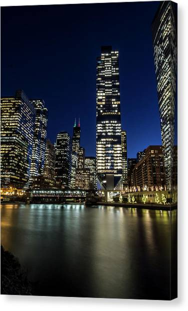 Chicago River And Skyline At Dusk  Canvas Print