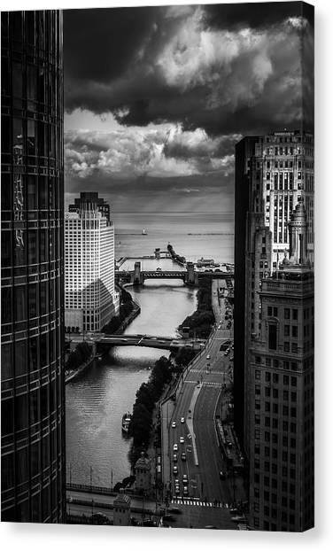 Chicago Skyline Art Canvas Print - Chicago River by Andrew Soundarajan