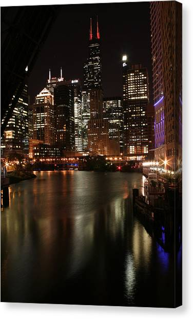 Chicago River At Night Canvas Print by Christopher Purcell