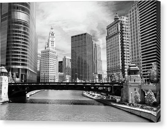 Chicago Canvas Print - Chicago River Buildings Skyline by Paul Velgos