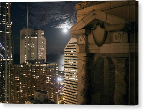Chicago Rooftop On Moonlit Night Canvas Print by Christopher Purcell