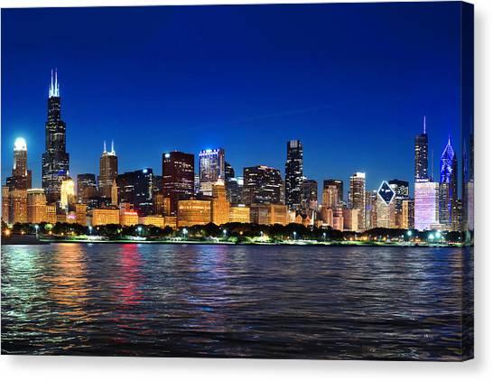 Chicago Shorline At Night Canvas Print