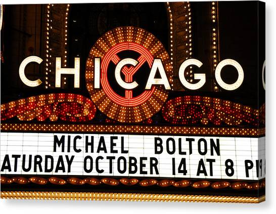 Chicago Sign - Chicago Theater Canvas Print by Dmitriy Margolin