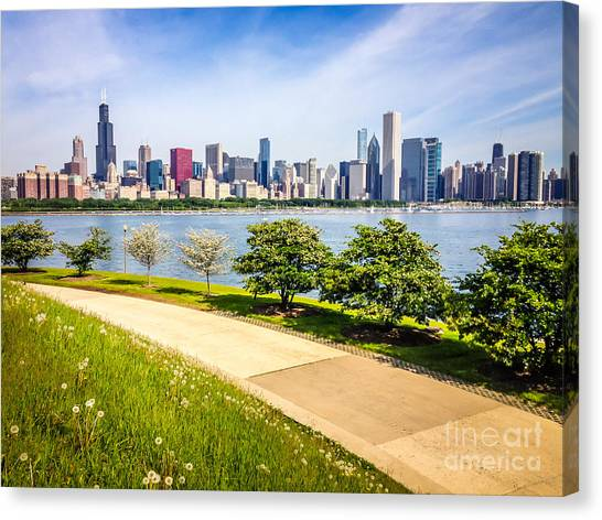 Chicago Skyine And Lakefront Trail Canvas Print by Paul Velgos