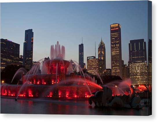 Chicago Skyline And Buckingham Fountain Canvas Print