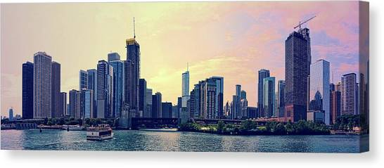 Chicago Skyline And Chicago River Canvas Print