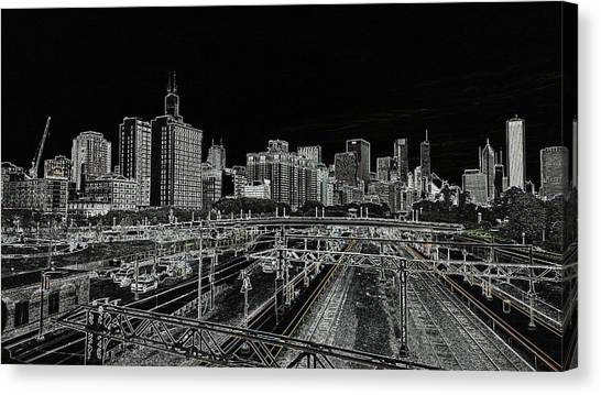 Chicago Skyline And Tracks Canvas Print