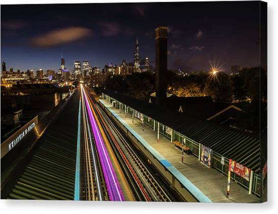 Chicago Skyline And Train Lights Canvas Print