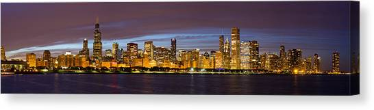 Chicago Skyline At Dusk Canvas Print by Twenty Two North Photography