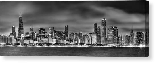 Lake Michigan Canvas Print - Chicago Skyline At Night Black And White by Jon Holiday