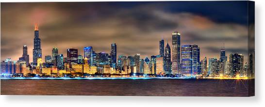 Night Canvas Print - Chicago Skyline At Night Panorama Color 1 To 3 Ratio by Jon Holiday