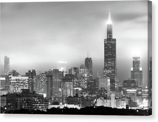 Chicago Skyline Art Canvas Print - Chicago Skyline Black And White - Illinois - Usa by Gregory Ballos