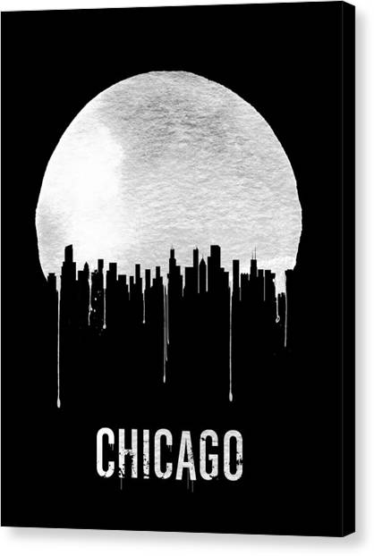 Chicago Canvas Print - Chicago Skyline Black by Naxart Studio
