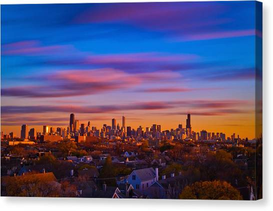 Chicago Skyline Blend Canvas Print by Steve Kuzminski