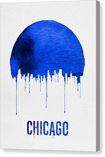 University Of Illinois Canvas Print - Chicago Skyline Blue by Naxart Studio