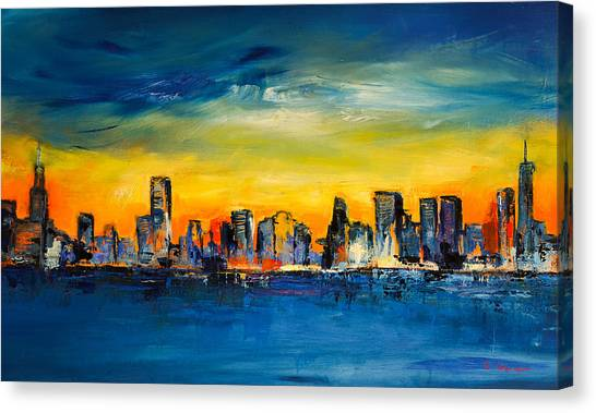 Lake Michigan Canvas Print - Chicago Skyline by Elise Palmigiani
