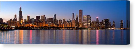 Lake Michigan Canvas Print - Chicago Skyline Evening by Donald Schwartz