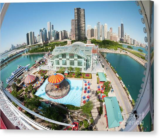 Chicago Skyline From The Navy Pier Ferris Wheel Canvas Print by Felix Choo