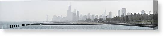 Chicago Skyline In Fog Canvas Print