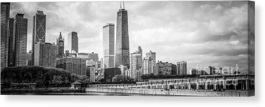 Hancock Building Canvas Print - Chicago Skyline Panorama Black And White Photo by Paul Velgos