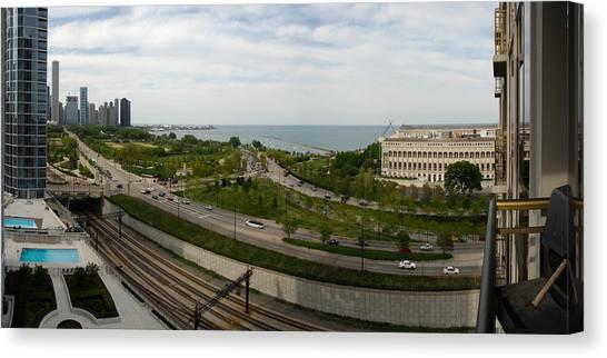 Chicago Skyline Showing Monroe Harbor Canvas Print