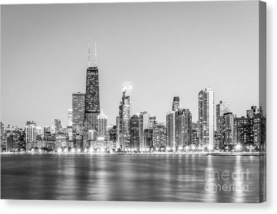 Chicago Black White Canvas Print - Chicago Skyline With Hancock Building Photo by Paul Velgos