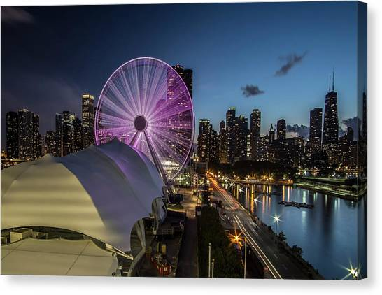 Chicago Skyline With New Ferris Wheel At Dusk Canvas Print