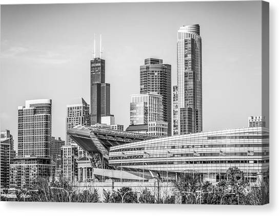Chicago Bears Canvas Print - Chicago Skyline With Soldier Field And Willis Tower  by Paul Velgos