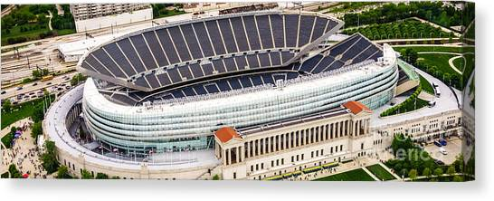 Soldier Field Canvas Print - Chicago Soldier Field Aerial Photo by Paul Velgos