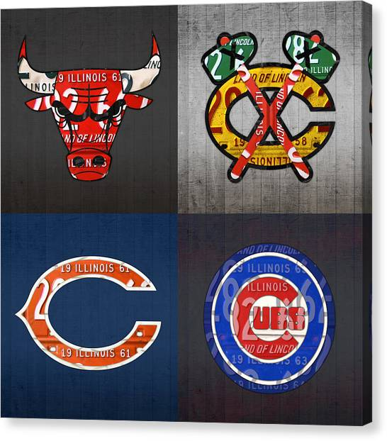 Chicago Bears Canvas Print - Chicago Sports Fan Recycled Vintage Illinois License Plate Art Bulls Blackhawks Bears And Cubs by Design Turnpike