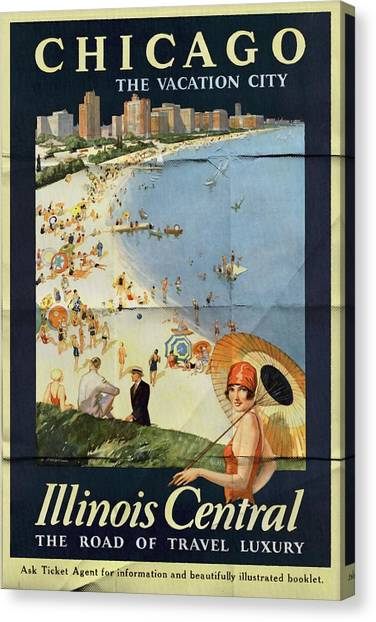 Chicago The Vacation City - Vintage Poster Folded Canvas Print