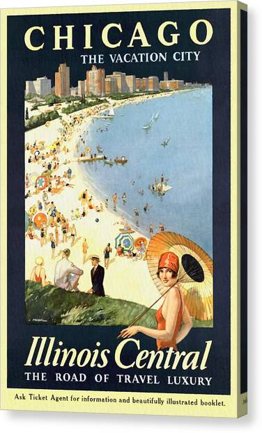 Chicago The Vacation City - Vintage Poster Restored Canvas Print