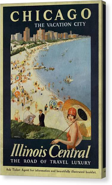 Chicago The Vacation City - Vintage Poster Vintagelized Canvas Print