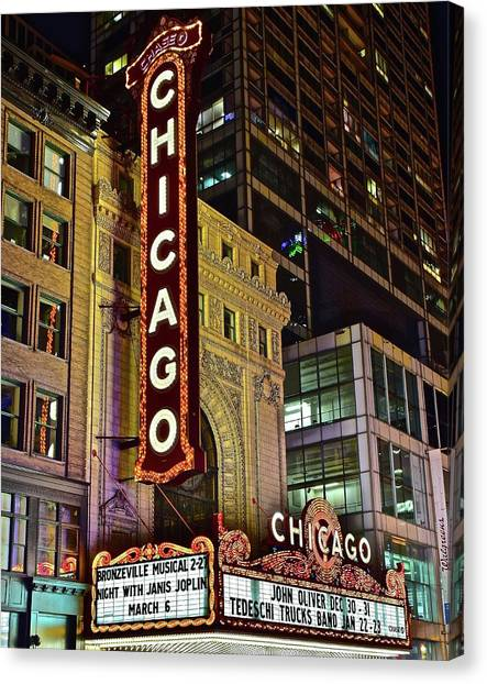 Hancock Building Canvas Print - Chicago Theater Aglow by Frozen in Time Fine Art Photography