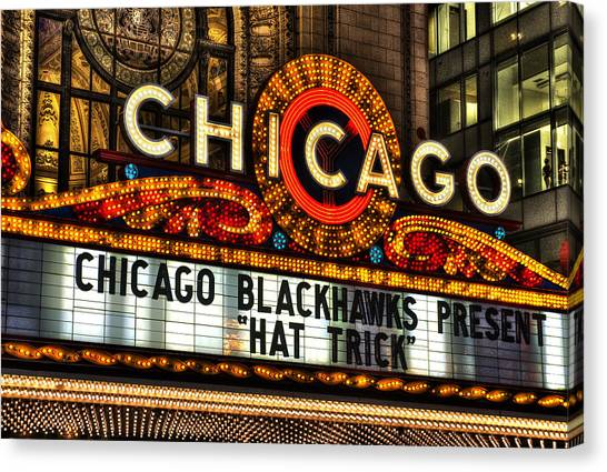 Hat Trick Canvas Print - Chicago Theater Marquee by Daniel Hagerman