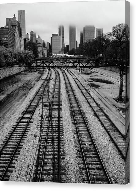 Chicago Tracks To The Foggy City  Canvas Print