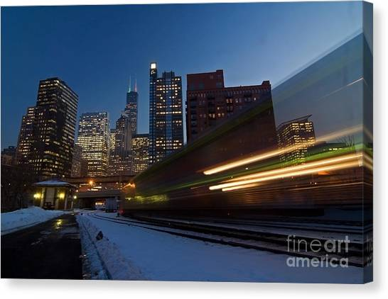 Trains Canvas Print - Chicago Train Blur by Sven Brogren