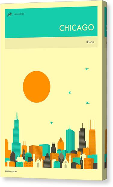 Chicago Skyline Canvas Print - Chicago Travel Poster by Jazzberry Blue