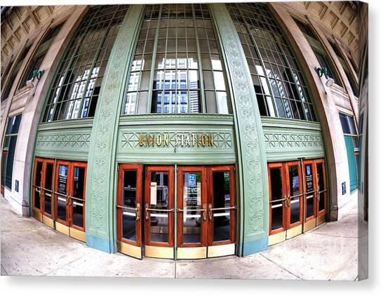 Chicago Union Station Fisheye Canvas Print by John Rizzuto
