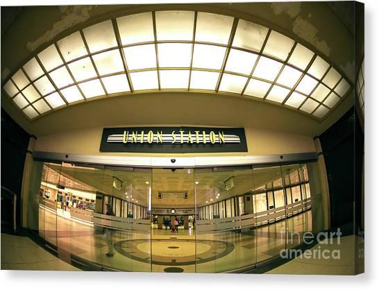 Chicago Union Station Interior Fisheye Canvas Print by John Rizzuto