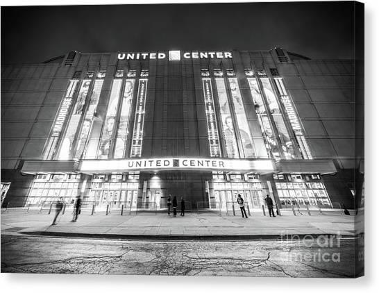 Blackhawk Canvas Print - Chicago United Center Black And White Photo by Paul Velgos