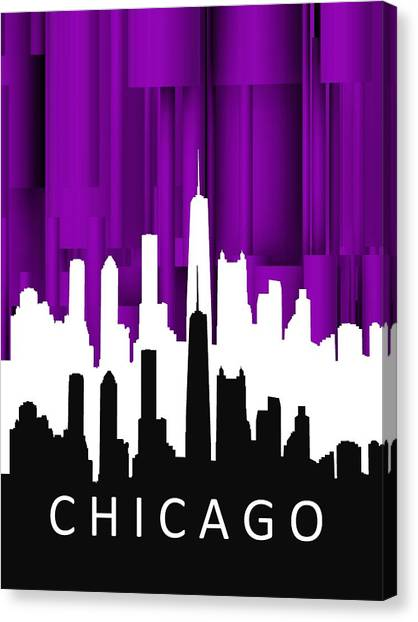 Chicago Violet In Negative Canvas Print