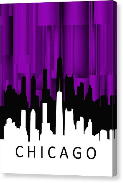 Chicago Violet Vertical  Canvas Print