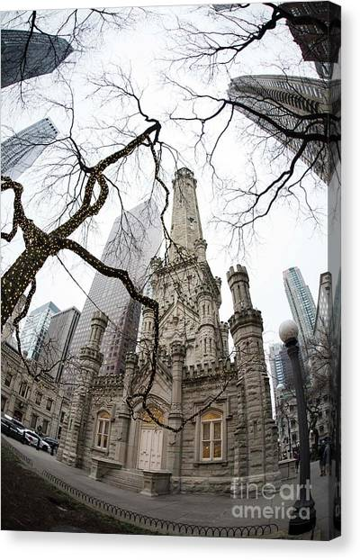 Chicago Fire Canvas Print - Chicago Water Tower by David Bearden