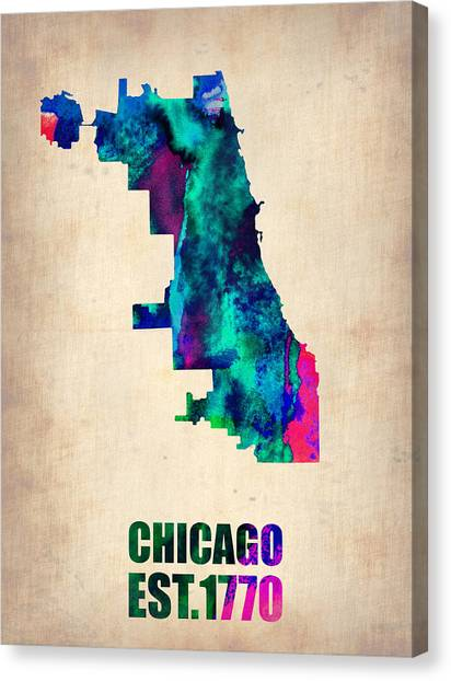 University Of Illinois Canvas Print - Chicago Watercolor Map by Naxart Studio
