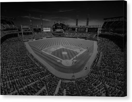 Chicago White Sox Canvas Print - Chicago White Sox Us Cellular Field Creative 3 Black And White by David Haskett II