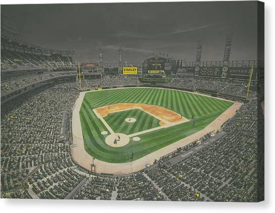 Chicago White Sox Canvas Print - Chicago White Sox Us Cellular Field Creative 4 Black And White by David Haskett II